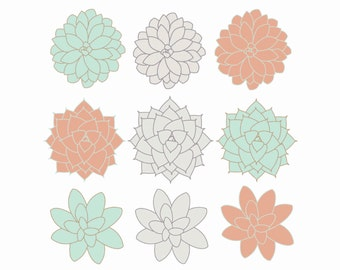 60% OFF SALE  Digital Clip Art  Succulents Clipart Flowers  Coral, Mint, Gray  Spring Easter Clipart