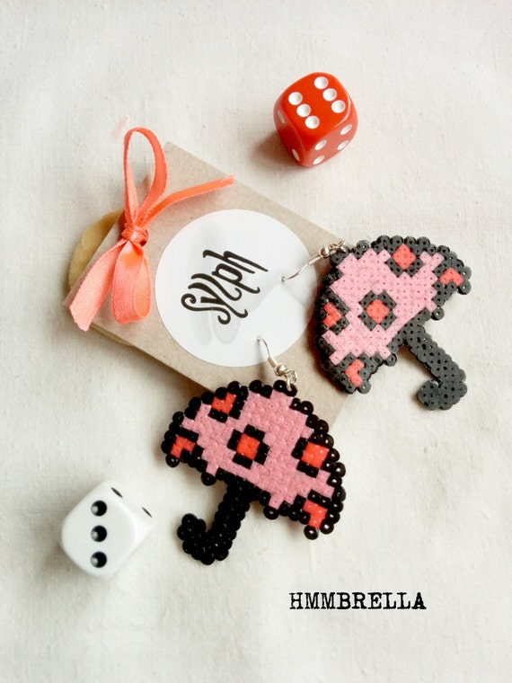 Pink 8bit umbrella earrings Hmmbrella with red polkadots, perfect for rainy days and autumn weather