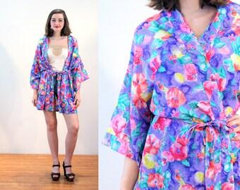 80s Val Mode Kimono M, Bright Floral Short Robe, Silky Blue Pink & Purple Women's Vintage Belted Bathrobe Lingerie Swim Coverup, Medium
