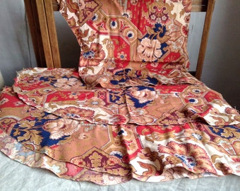 """Vintage French Floral Fabric Remnants /0NE Panel Brown Red & Blue Cotton / Furnishing Projects 26"""" x 31"""""""