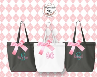 Bridesmaid Gift, 8 Personalized Zippered Tote, Bridesmaid Gift Set, Bridesmaid Gifts- Personalized Tote Bag, Wedding Party Gift