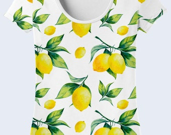 Lemon T Shirt, White T Shirt, Colorful Ladies Top, Summer Clothing, Patterned Womens Shirts, Short Sleeve, Crew Neck Tee