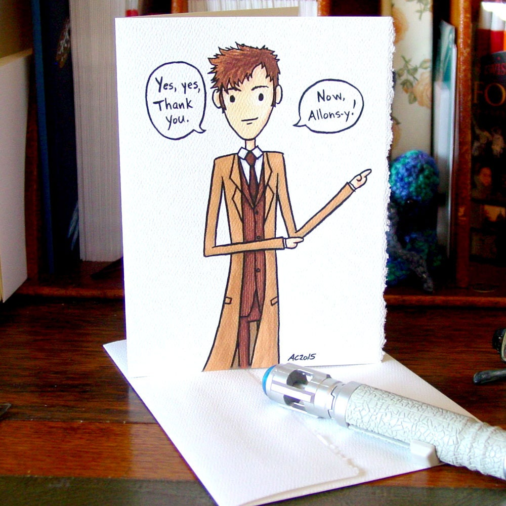 Doctor Who Thank You Card Tenth Doctor Allons-y