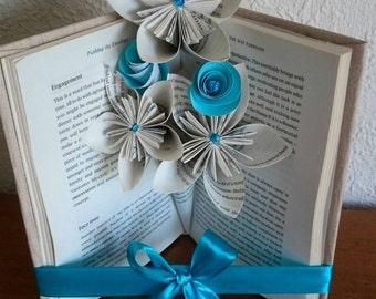 Handmade Book Fold Mini Vase and Flowers