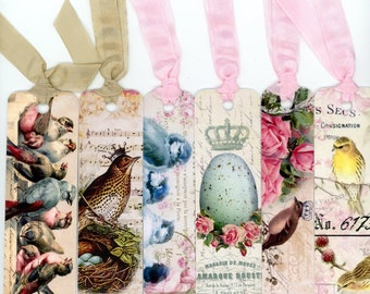 Bird Themed Bookmarks , Vintage Style Bookmarks , Vintage Birds , Bluebird and Roses , Crowned Bird , Yellow Bird , Speckled Egg , Bird Nest