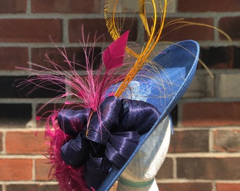 Blue, Navy, Yellow, Magenta, Sinamay, Kentucky Derby Fascinator, Hatinator