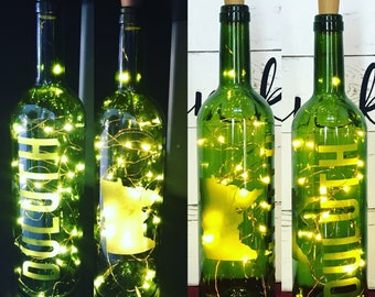 Customized Lighted Wine Bottles