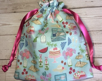 Drawstring project bag - Picnic