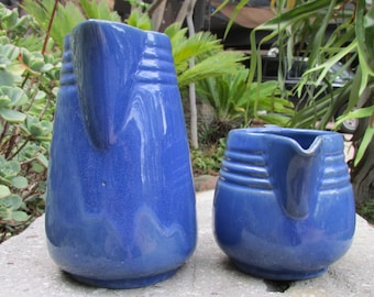 Fort Hays State College Kansas Blue Pottery Pitchers Heavy Art Deco set of Two