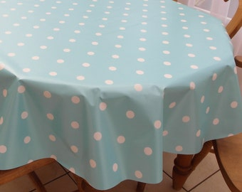 Charmant Baby Blue Polka Dot PVC Tablecloth   Oval Or Rectangle
