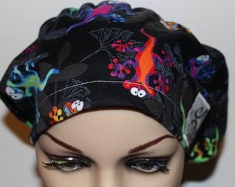 Women Surgical Cap, Chemo Cap, Scrub Hat, Giecko's, lizards