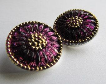Lilac Czech Glass Daisy Button, 18mm Czech Glass Button, 18mm Button, Daisy Button, Czech Glass Daisy, Czech Glass Buttons, 0117LIL0158BUT