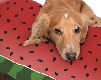 Watermelon Design Pet Bed - Red Black Seed Pattern and Green Stripe Design - Dog Bed - 3 sizes available - Indoor or Outdoor - Made to Order