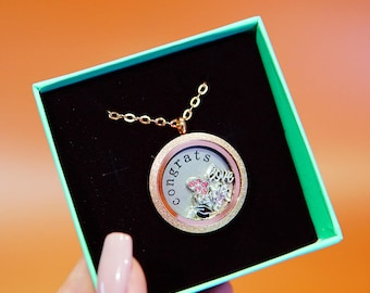 Stainless Steel Floating Locket Necklace with Choice of 6 Charms,1 Plate, and Matching Chain