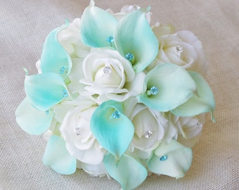 Silk Flower Wedding Bouquet - Aqua Mint Blue Calla Lilies and Roses Natural Touch with Crystals Silk Bridal Bouquet - Robbin's Egg