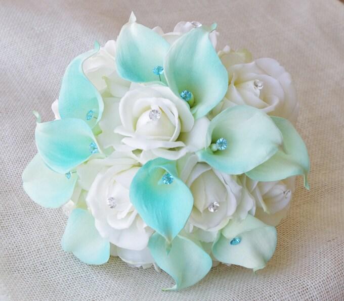 Silk Flower Wedding Bouquet Aqua Mint Blue Calla Lilies and