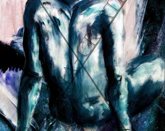 """naked man sitting back painting drawing """"Fly me"""""""