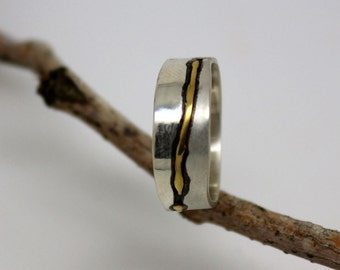 22k gold and 925 sterling silver modern wedding band, women or men commitment ring