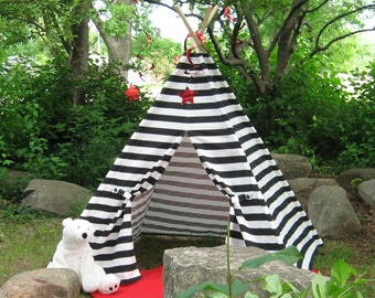 Striped Teepee Play Tent, Tepee, Black Stripes, 6 Foot Poles Included, Custom Order