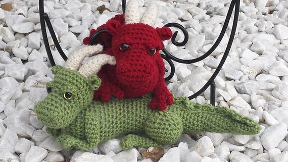 Amigurumi Baby Dragon : Crochet dragon and dino in crochet pattern by kornflakestew