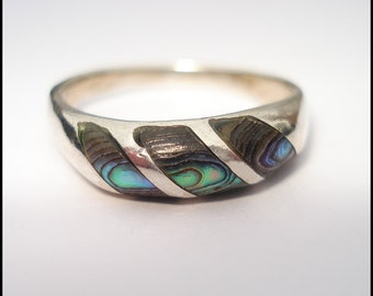 Vintage Sterling Silver Abalone Shell Ring 8