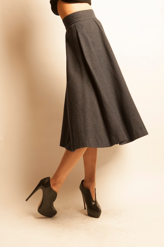 Yves Saint Laurent early 1980's navy wool flared skirt