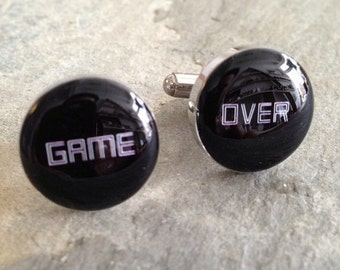 Game over cufflinks silver mens jewelry accessories / black and white graphic