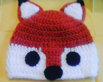 Fox Hat, Forest Friends Beanie for Baby, Child, Teen, or Adult, Newborn Photo Prop, Gifts for New Baby