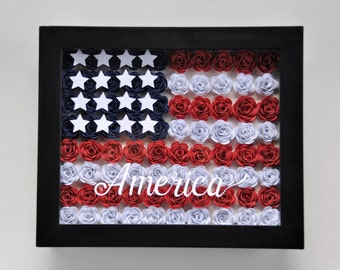 Red blue flowers art etsy warm breezes american flag red white blue stars 4th july roses flowers shadowbox framed wall art mightylinksfo