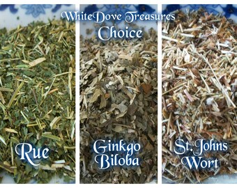 GINKGO Leaf - St. JOHNS Wort ~ RUE 1oz Choice ~ Organic Herbs