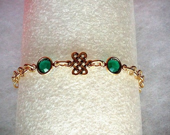 Gold Celtic Eternity Knot Bracelet, Swarovski Emerald Birthstone Jewelry, Sister Friendship Bracelet, Irish Jewelry Gold Birthstone Bracelet