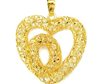Limited Edition - 18K 21K 22K Yellow Gold Heart Shape Pendant Necklace Love Gift Jewelry for Her