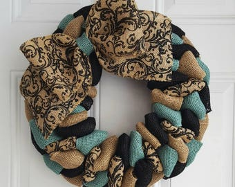 Spring burlap wreath, summer wreath, everyday wreath, front door wreath, turquoise and black wreath, shabby chic wreath, winter wreath