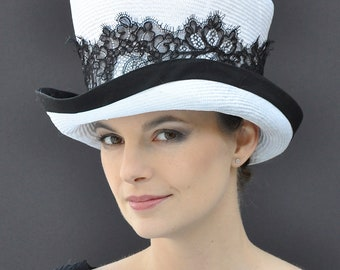 Kentucky Derby Hat. Royal Ascot hat, Top Hat, Black & White Hat, Black Lace Hat, Formal Hat