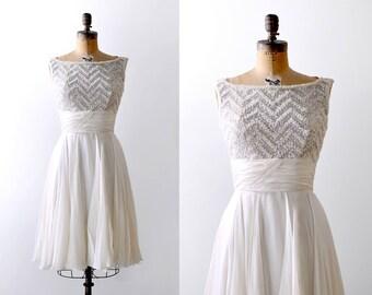 1950's Ceil Chapman sequin dress. S. 50 chiffon party dress. ivory crepe. white.