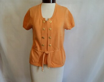 SHOP CLOSING 70% OFF Womens short sleeve sweater Kasper sweater orange sweater pullover sweater womens clothing size medium