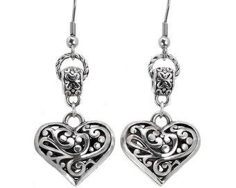 Filigree Heart Charm Dangle Drop Earrings With Stainless Steel Fish Hook Ear Wires