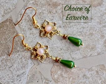 Reclaimed Vintage Earring Assemblage, Pierced, Gold, Pink, Green, Glass, Teardrop, Upcycled, Petite, Jennifer Jones, OOAK - Garden Party
