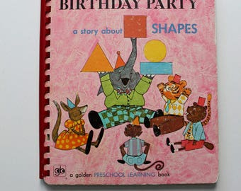 Rare Elephant's Birthday Party A Story About Shapes Golden Book 1971