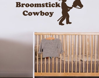 Broomstick Cowboy Vinyl Wall Decal - You Choose Color And Size - 012