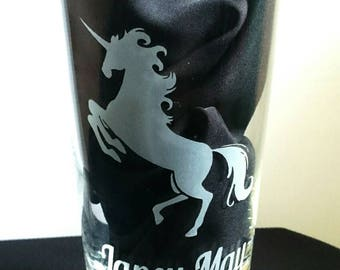 Engraved Unicorn Highball Glass - Personalised with any name - New - Handmade