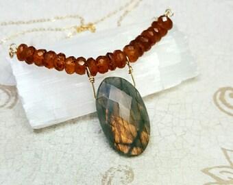 Labradorite necklace. Labradorite and Hessonite Garnet necklace. One of a kind necklace. Gold Labradorite. Garnet beads. Statement necklace