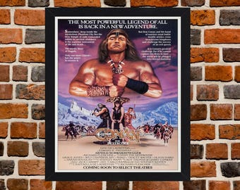 Framed Conan The Destroyer Arnold Schwarzenegger Fantasy Action Movie / Film Poster A3 Size Mounted In Black Or White Frame