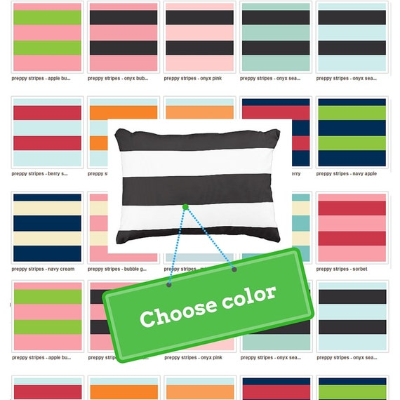 Preppy Stripes Color on Color Pillow Case, College Dorm Decor, Nursery Decor, Kids Pillow Case, Nautical Bedroom