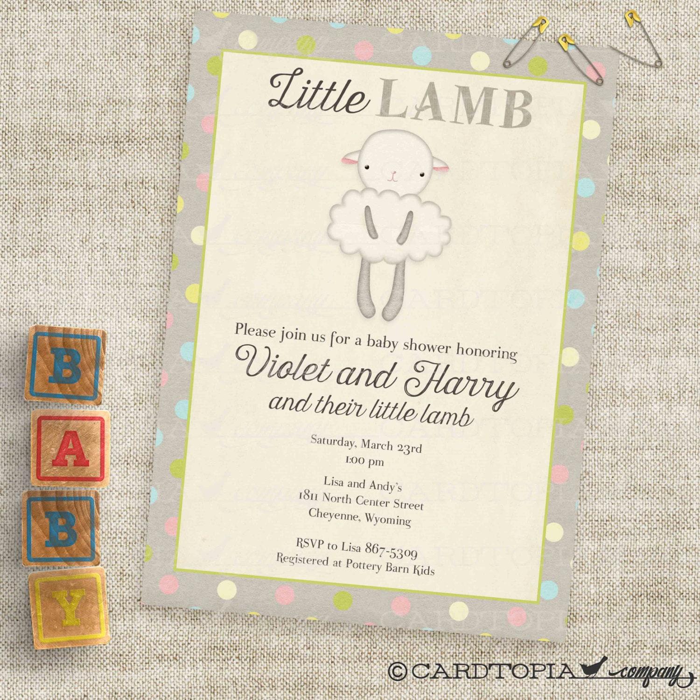 Gender Neutral Little Lamb Baby Shower Invitations Baby Girl