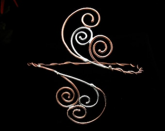 Spiral Scroll Upper Arm Torc - Arm Cuff - Sterling Silver Copper Combination Handmade
