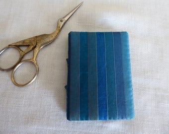 Teal striped silk needle book