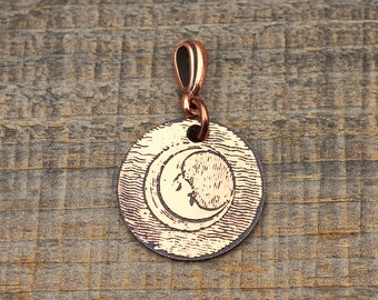 Small crescent moon pendant, round etched celestial jewelry, 22mm