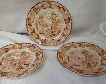 Set of 3 Vintage Brown Transferware Bread and Butter Plates Japan