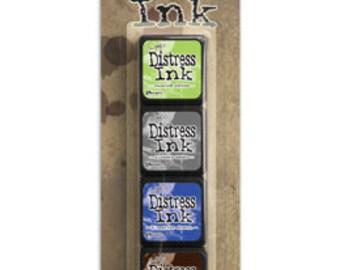 Ranger Tim Holtz MINI DISTRESS INK Pads - Set # 14 (Twisted Citron, Hickory Smoke, Blueprint Sketch, and Ground Espresso)